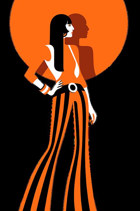 Orange, Clip art, Fashion illustration, Graphics, Dress, Style, Illustration, Gown, Art,