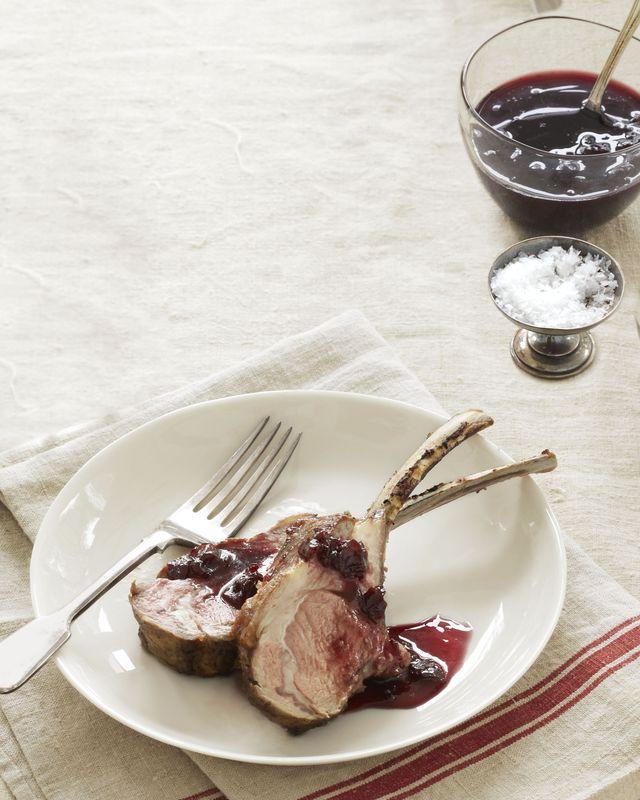 cherry and port glazed rack of lamb