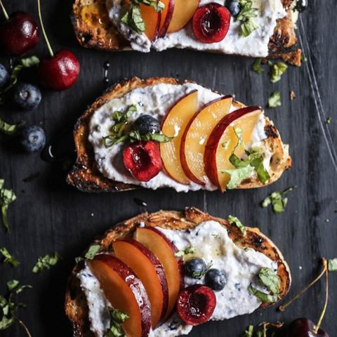 Cherry & Plum Toast with Blueberry Whipped Ricotta