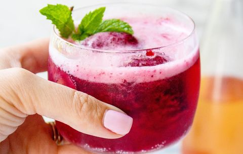 Cherry Sorbet and Rosé Wine Spritzers