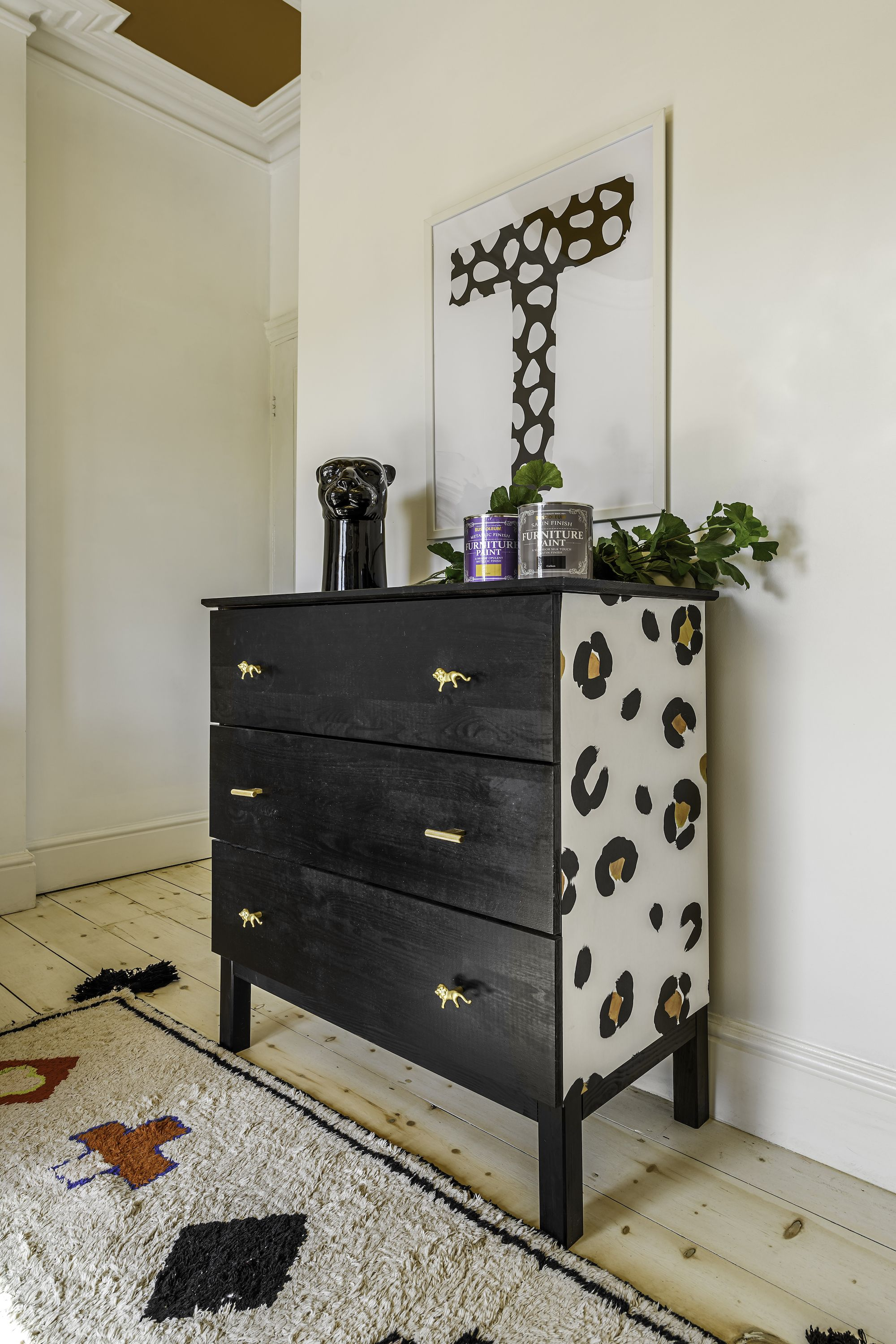 How To Upcycle Chest Of Drawers With Painted Leopard Print Design