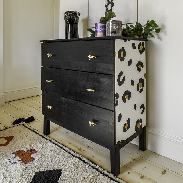 upcycling project transform a bland chest of drawers with this leopard print design