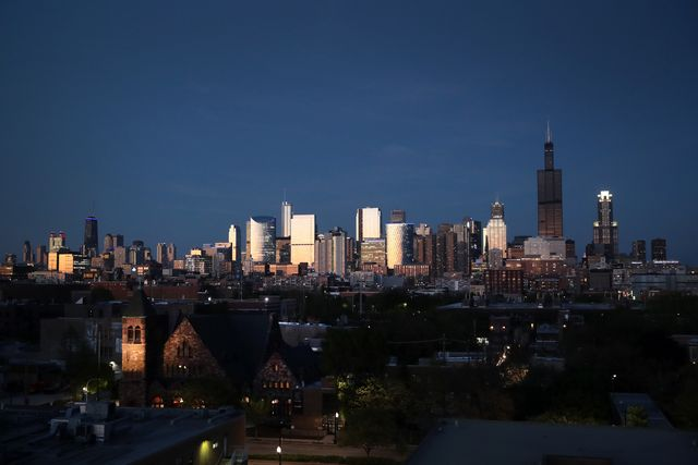 chicago, illinois   may 20 the willis tower rises above the downtown skyline as a blackened mass after flooding caused by recent heavy rains knocked out power to the building monday on may 20, 2020 in chicago, illinois the willis tower, constructed as the sears tower, was once the world's tallest building  photo by scott olsongetty images