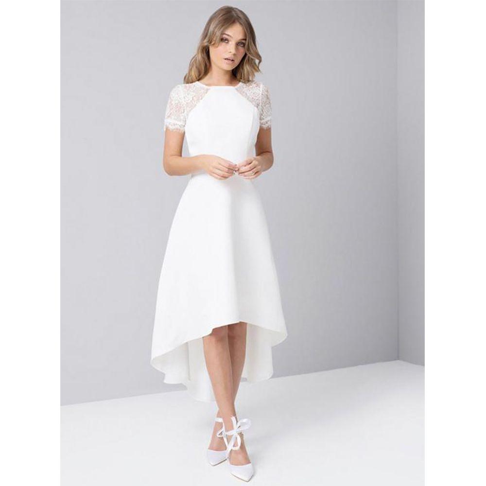 Chi Chi London Meara Lace Sleeve High Low Hem Dress