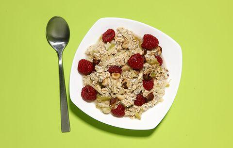 chia apple oats raspberries overnight breakfast bowl