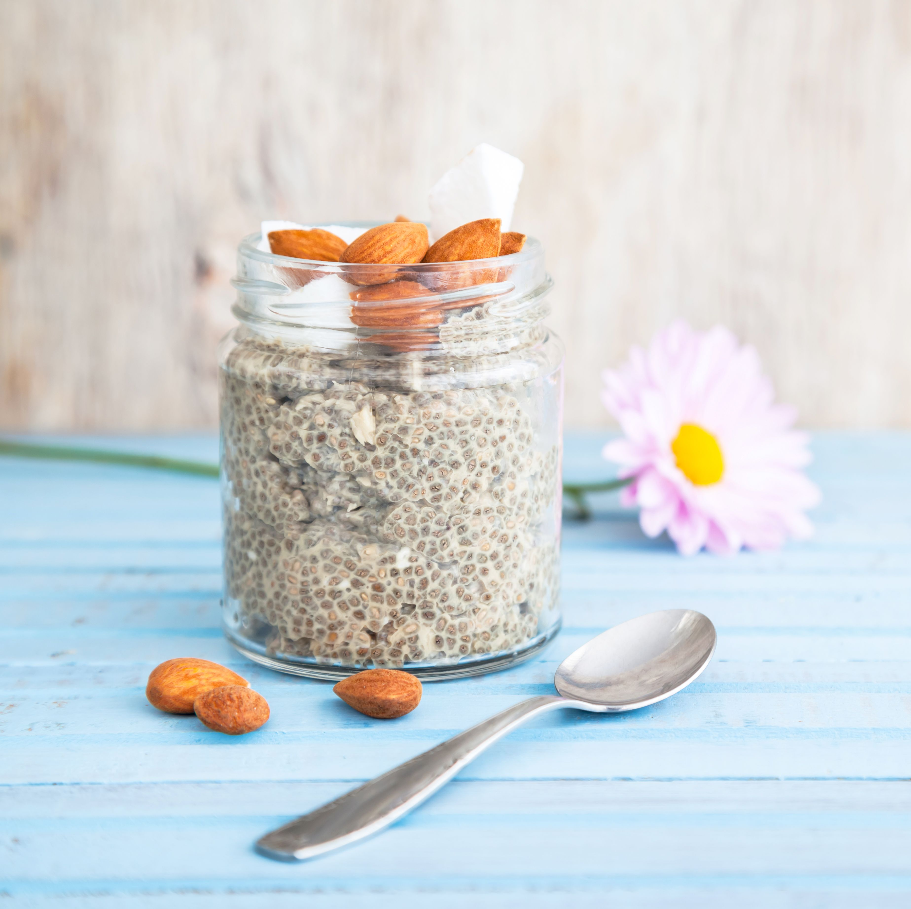 Chia pudding with almonds and coconut