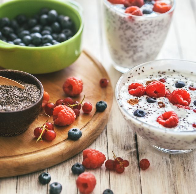 chia seed pudding with fresh friut