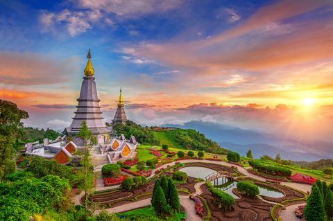the best of landscape in chiang mai pagodas noppamethanedol  noppapol phumsiri at sunset in inthanon mountain, thailand