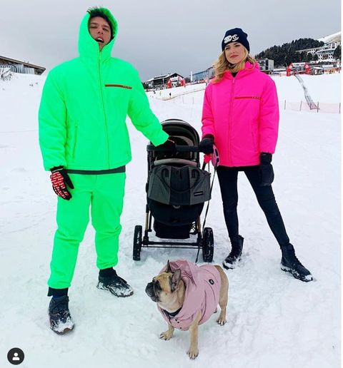 Snow, Winter, Dog, Canidae, Pink, Pug, Outerwear, Fun, Footwear, Jacket,