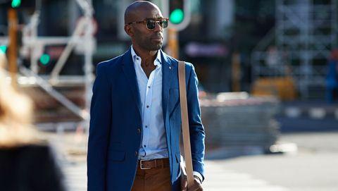 Black man in a suit jacket
