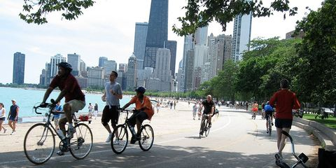 Runners and cyclists along the Lakefront Trail in Chicago.