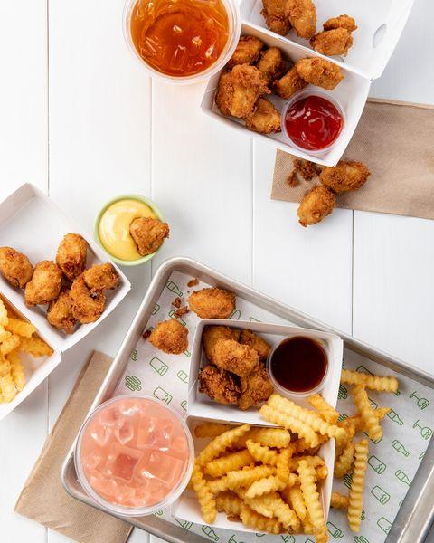 Dish, Food, Cuisine, Fried food, Meal, Ingredient, Fast food, Brunch, Kids' meal, Chicken nugget,