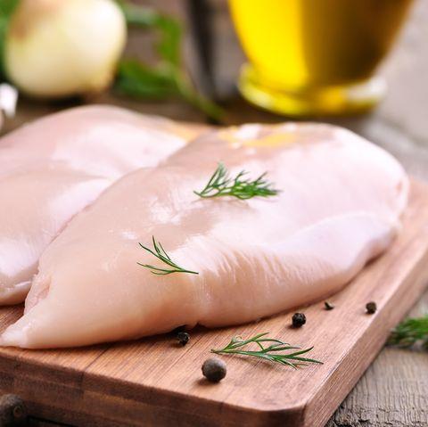 Chicken breasts on cutting board