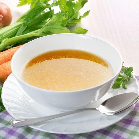 chicken broth in bowl