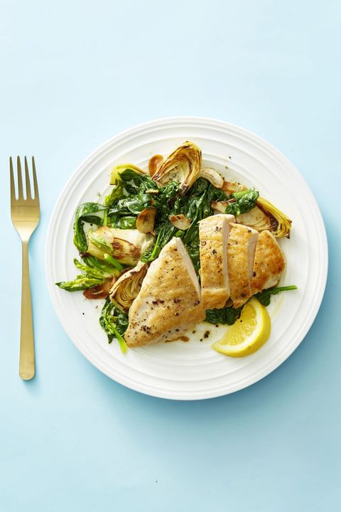chicken breast recipes -Chicken with Creamy Spinach and Artichokes