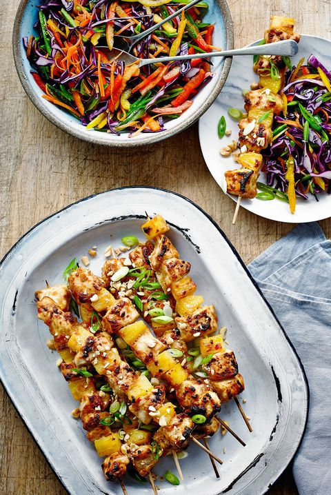 Chicken and Pineapple Satay Skewers with Rainbow Salad