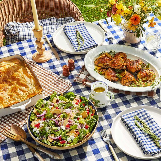 family dinner by textile designer heather taylor lemony chicken thighs, greek salad, rice pilaf, spanakopita pie