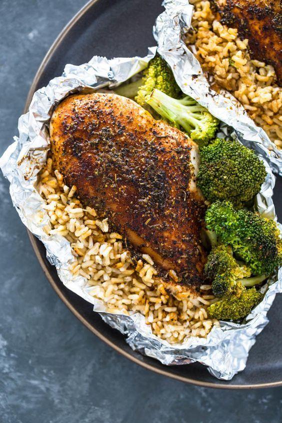 chicken rice broccoli foil packet recipe
