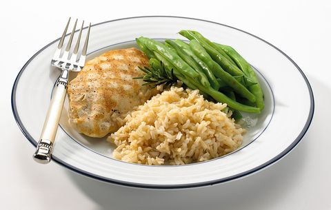 chicken, rice, and green beans