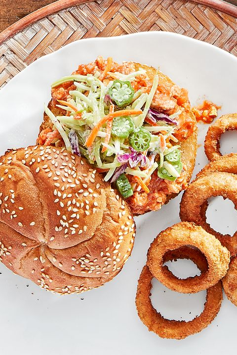 chicken sloppy joes with pickled okra slaw