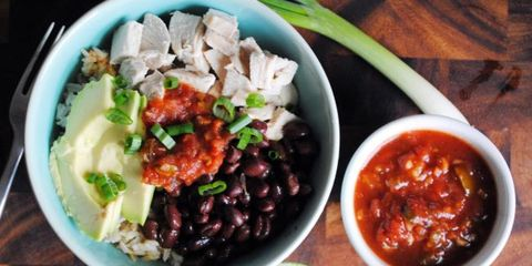 Poached chicken Mexican bowl