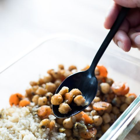 chickpea stew and rice pilaf, vegan food