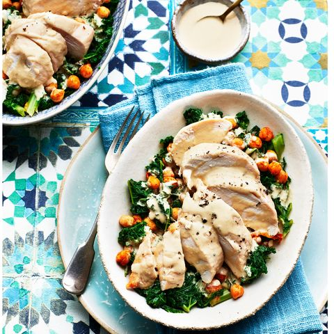 chicken and roasted chickpea salad