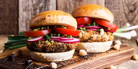 Chickpea veggie burger with fresh vegetables