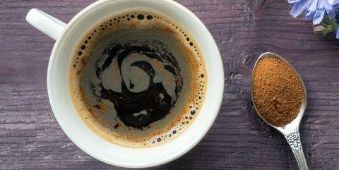 Coffee cup, Spoon, Cup, Cup, Food, Caffeine, Dandelion coffee, Tableware, Serveware, Drink,