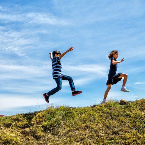 children skipping for exercise