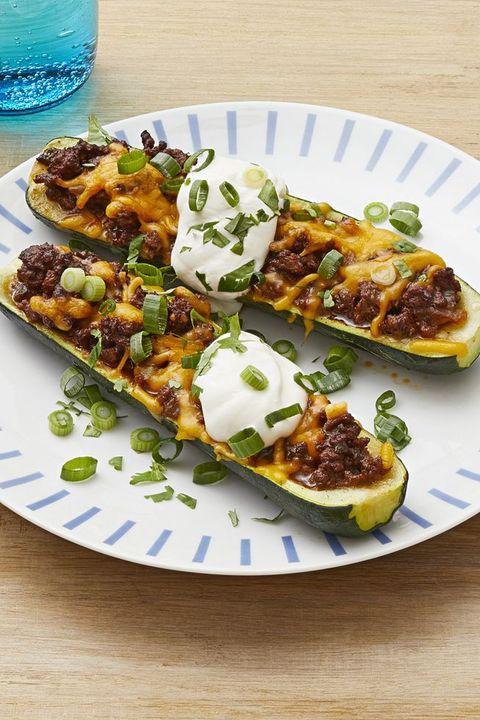 chili stuffed zucchini boats