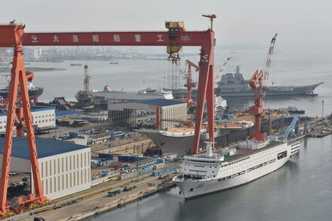 China's First Home-built Aircraft Carrier Sets Out For Sea Trial