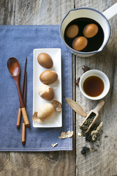chinese food marble tea egg on rustic wooden counter top