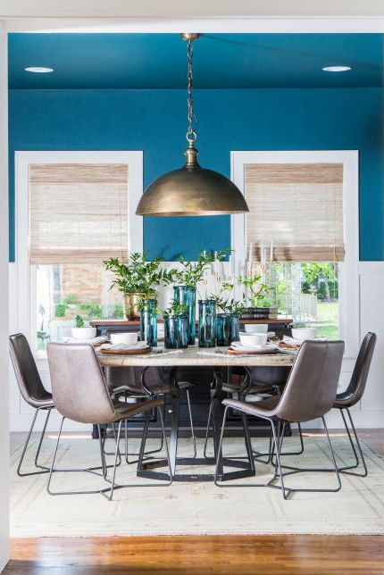 Dining room, Room, Furniture, Blue, Interior design, Turquoise, Green, Property, Table, Home,
