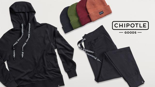 chipotle holiday loungewear 2020, joggers, sweatshirt, beanies