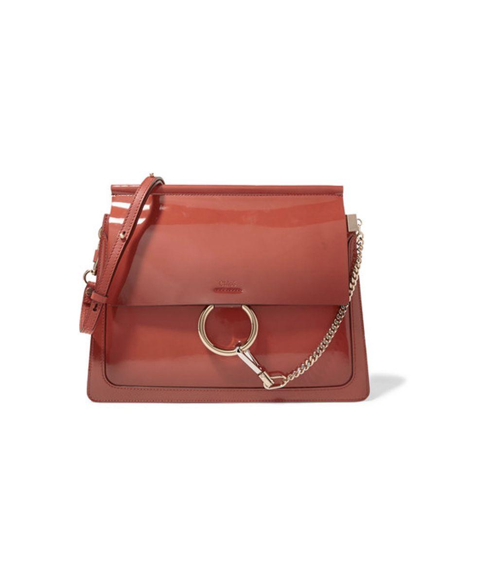 Chloé Faye medium glossed-leather shoulder bag