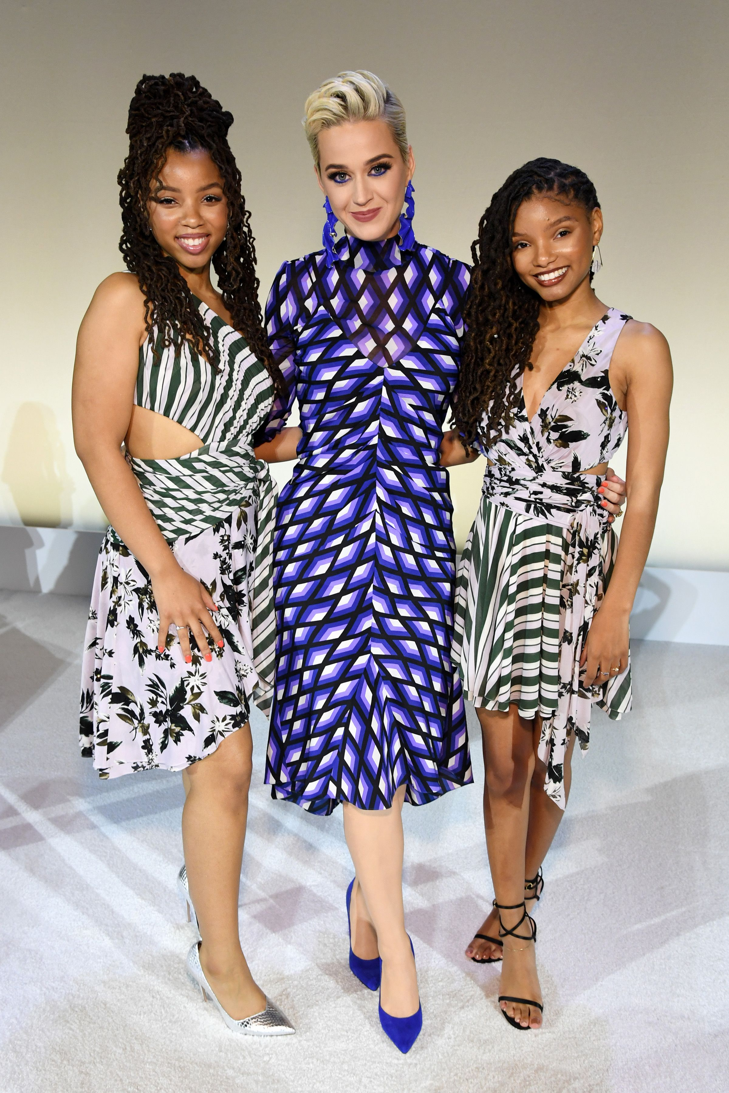 """Chloe x Halle and Katy Perry Before sister-duo Chloe x Halle's performance of """"Cool People,"""" """"Down,"""" and """"Where is the Love?"""""""