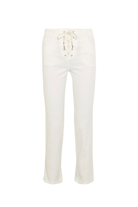 White, Clothing, Jeans, Trousers, Denim, Active pants, Beige, sweatpant, Sportswear, Pocket,