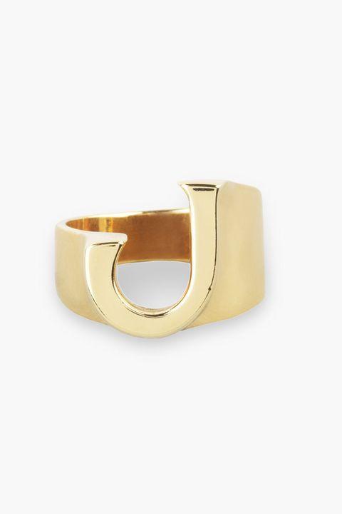 Chloe alphabet ring, initial jewellery