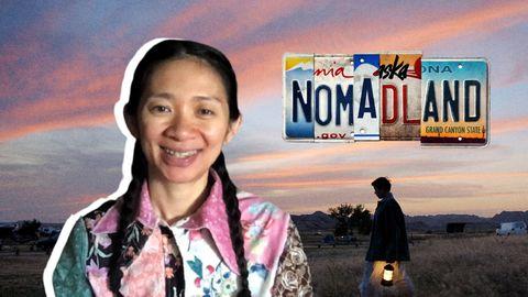 chloé zhao sobre una imagen de nomadland