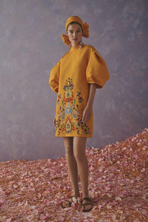 Clothing, Yellow, Vintage clothing, Fashion, Dress, Outerwear, Day dress, Retro style, Headgear, Pattern,