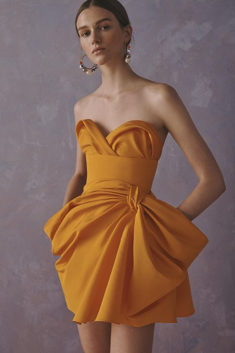 Dress, Clothing, Fashion model, Cocktail dress, Shoulder, Yellow, Strapless dress, Day dress, Bridal party dress, Fashion,
