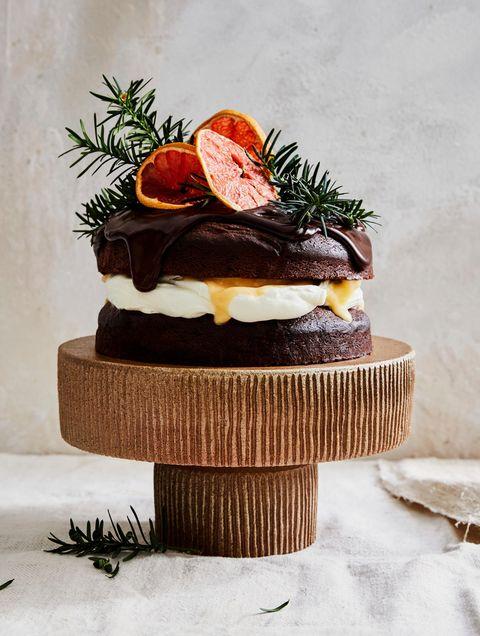 hazelnoot chocoladetaart met grapefruitcurd