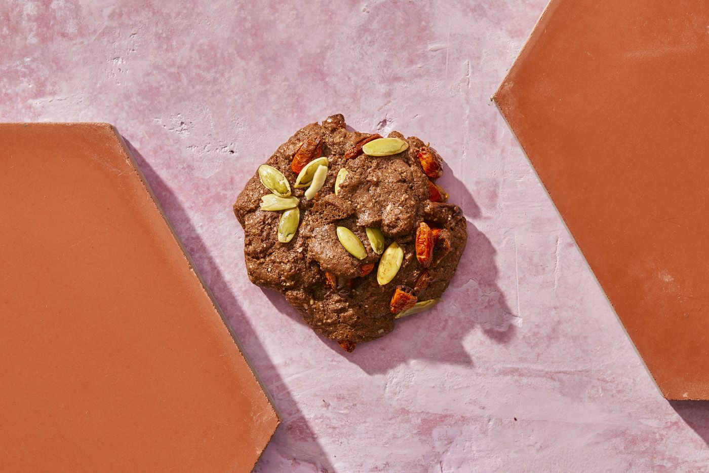 Chocolate Goji Berry-Pumpkin Seed Protein Cookies