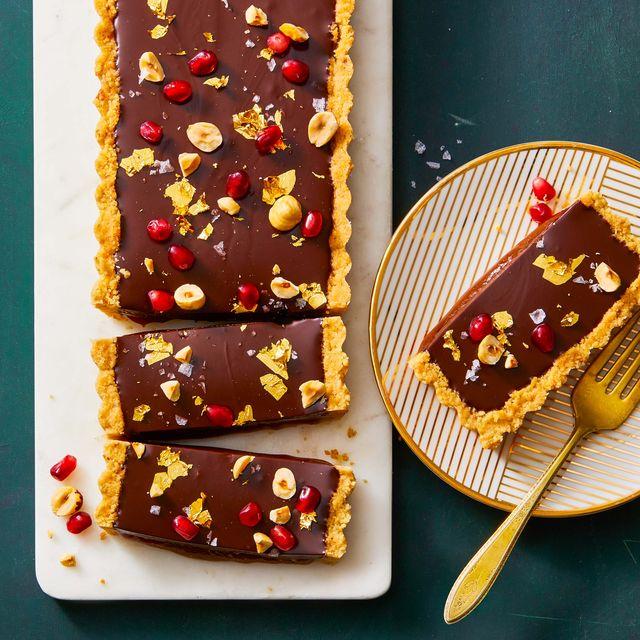 chocolate, hazelnut and caramel tart