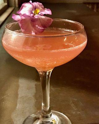 a pink margarita in a champagne cuup