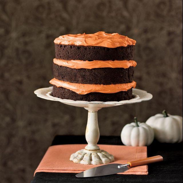 chocolate pumpkin cake and cupcakes