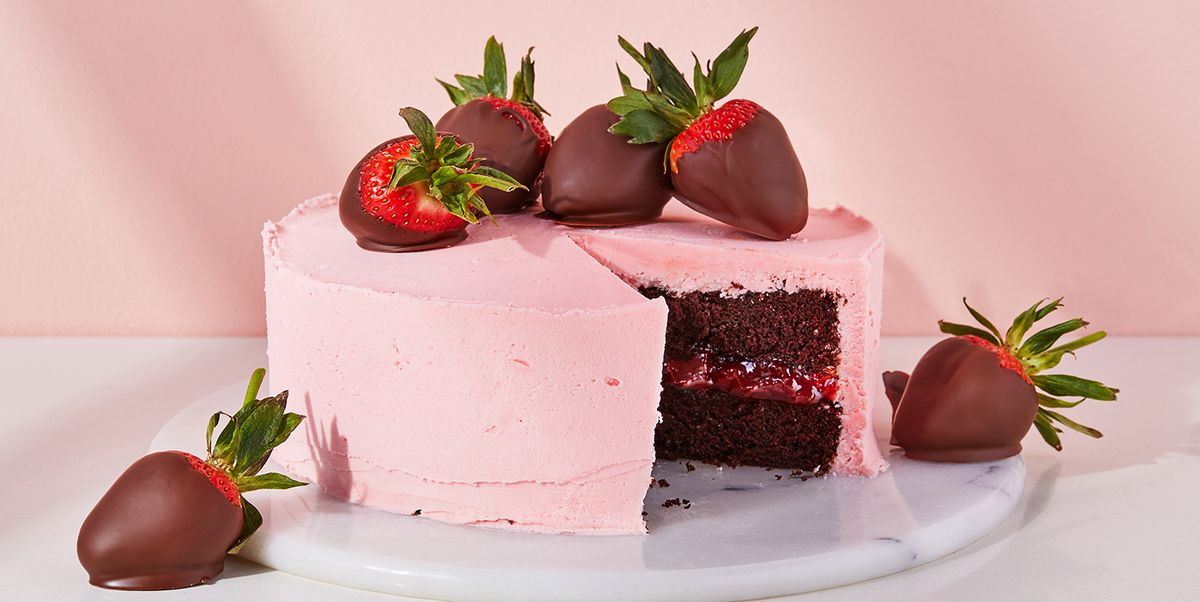 This Chocolate Cake Is Covered In Strawberry Milkshake-Flavoured Buttercream