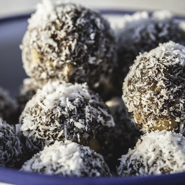 Chocolate Walnut Energy Balls in Bowl