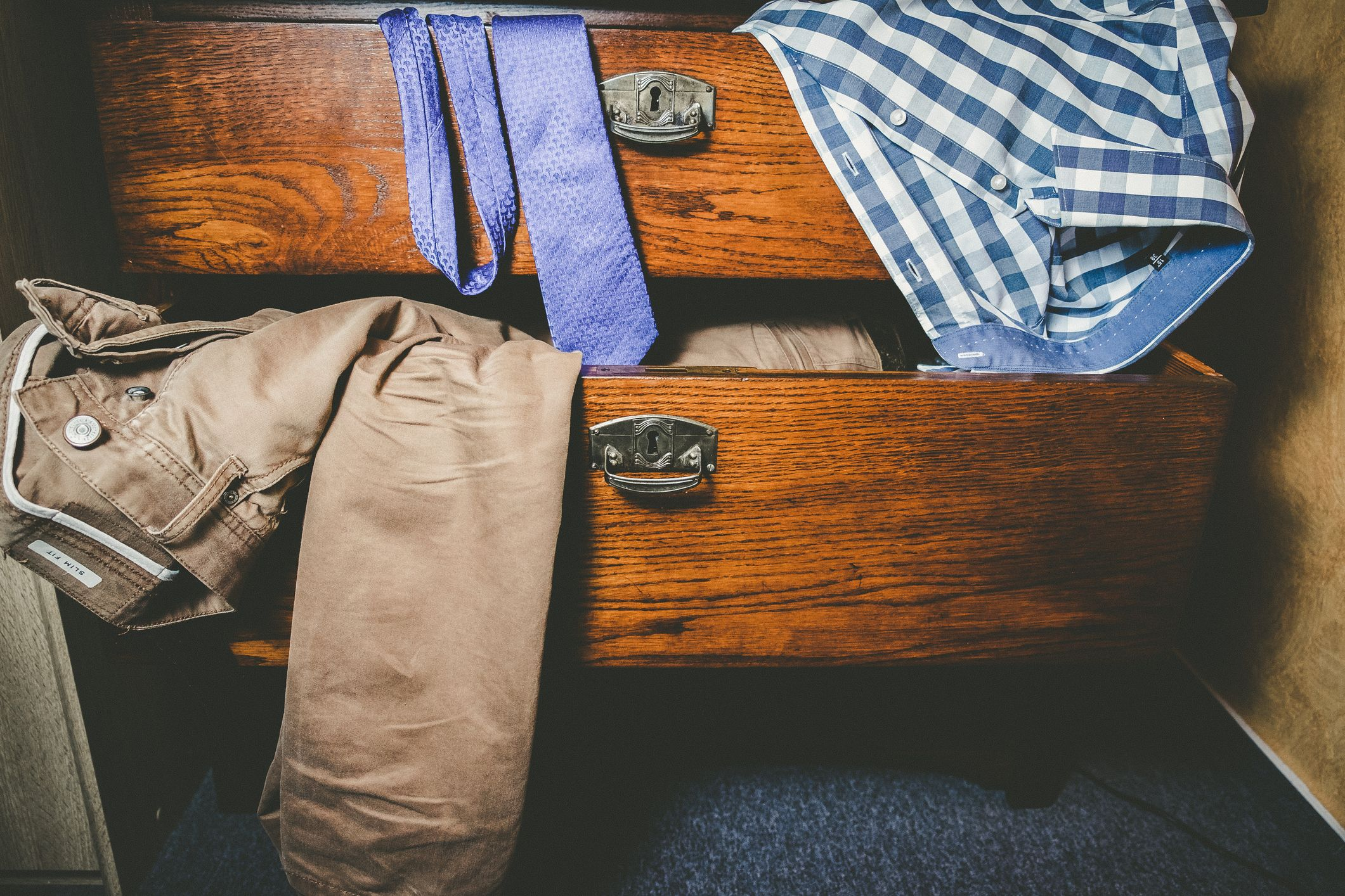 Clothes In Open Drawers